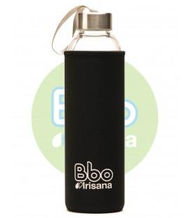 Botella bbo negro borosilicato con neopreno 550 ml. irisana