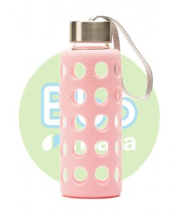 Botella bbo rosa borosilicato con silicona 300 ml. irisana