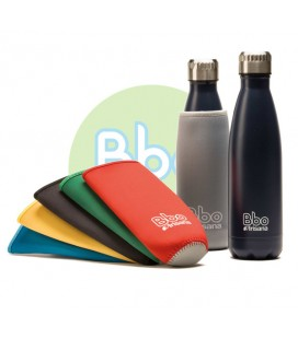 Botella bbo termo acero inoxidable 500ml azul y funda