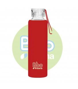 Botella bbo roja borosilicato con silicona 550 ml. irisana