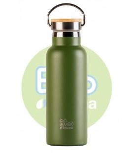 Botella bbo termo con tapon bambu 500ml verde