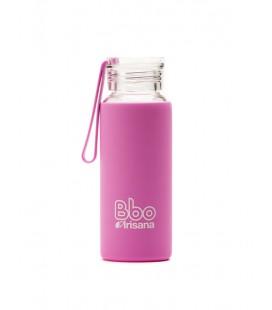 Botella bbo rosa borosilicato con silicona 330 ml. irisana